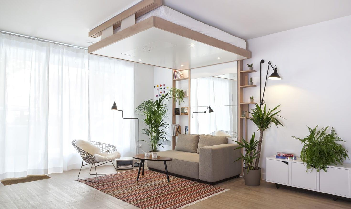 Le Lit Escamotable BedUp Cocoon Monte Et Disparait Au Plafond.