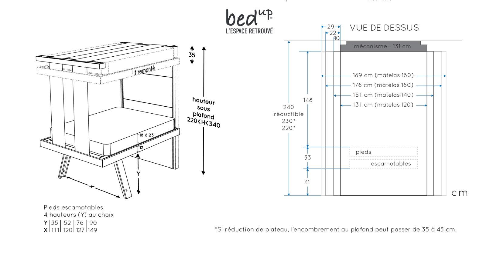 dimensions lits escamotables plafond