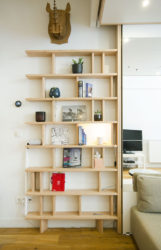 bibliothèque étroite design bois massif bois massif