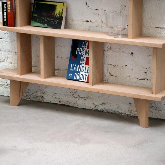 bibliothèque bois massif étroite