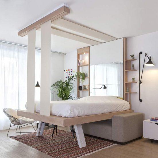 lit escamotable plafond suspendu par sangles