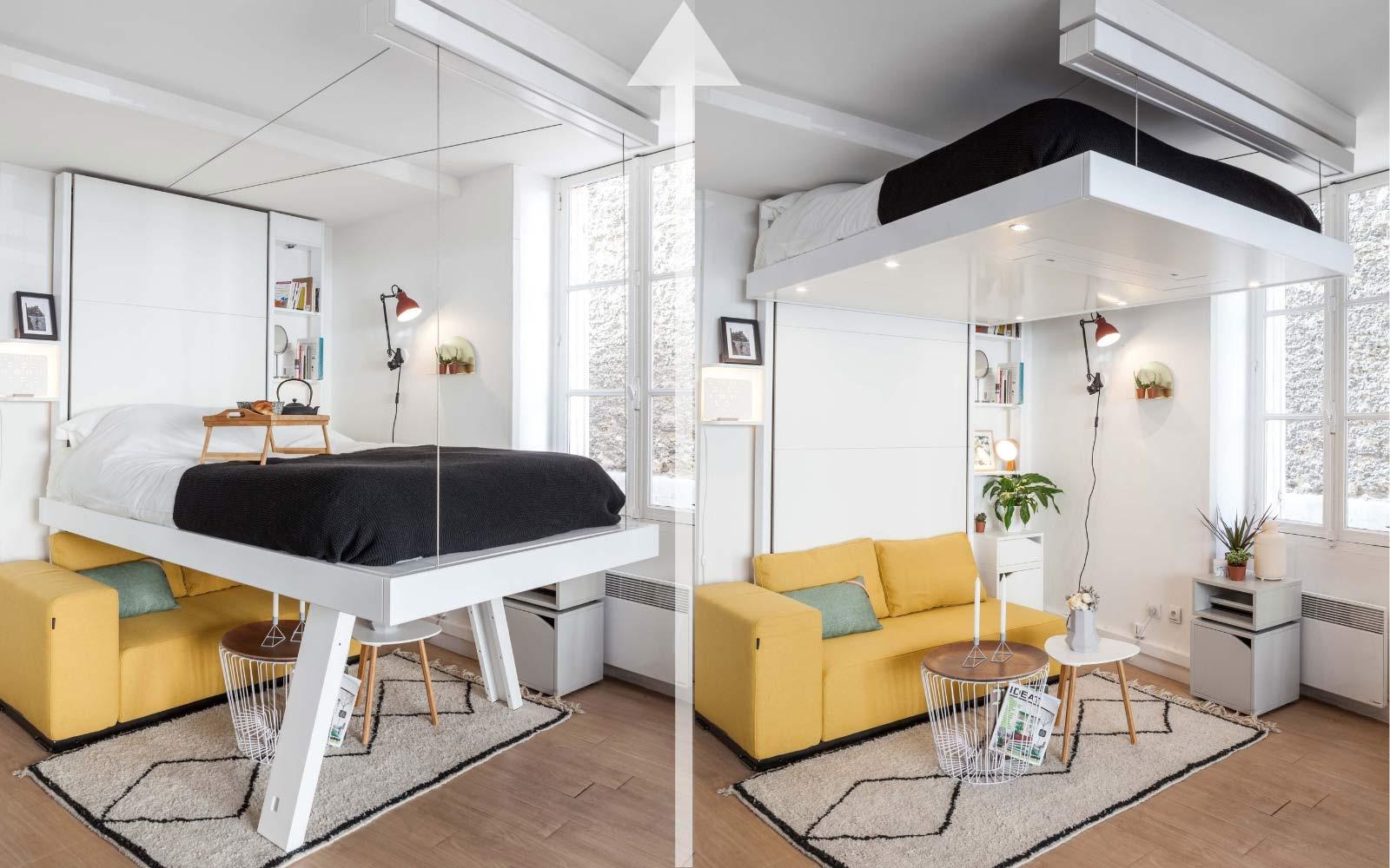 lit escamotable au plafond suspendu par cable