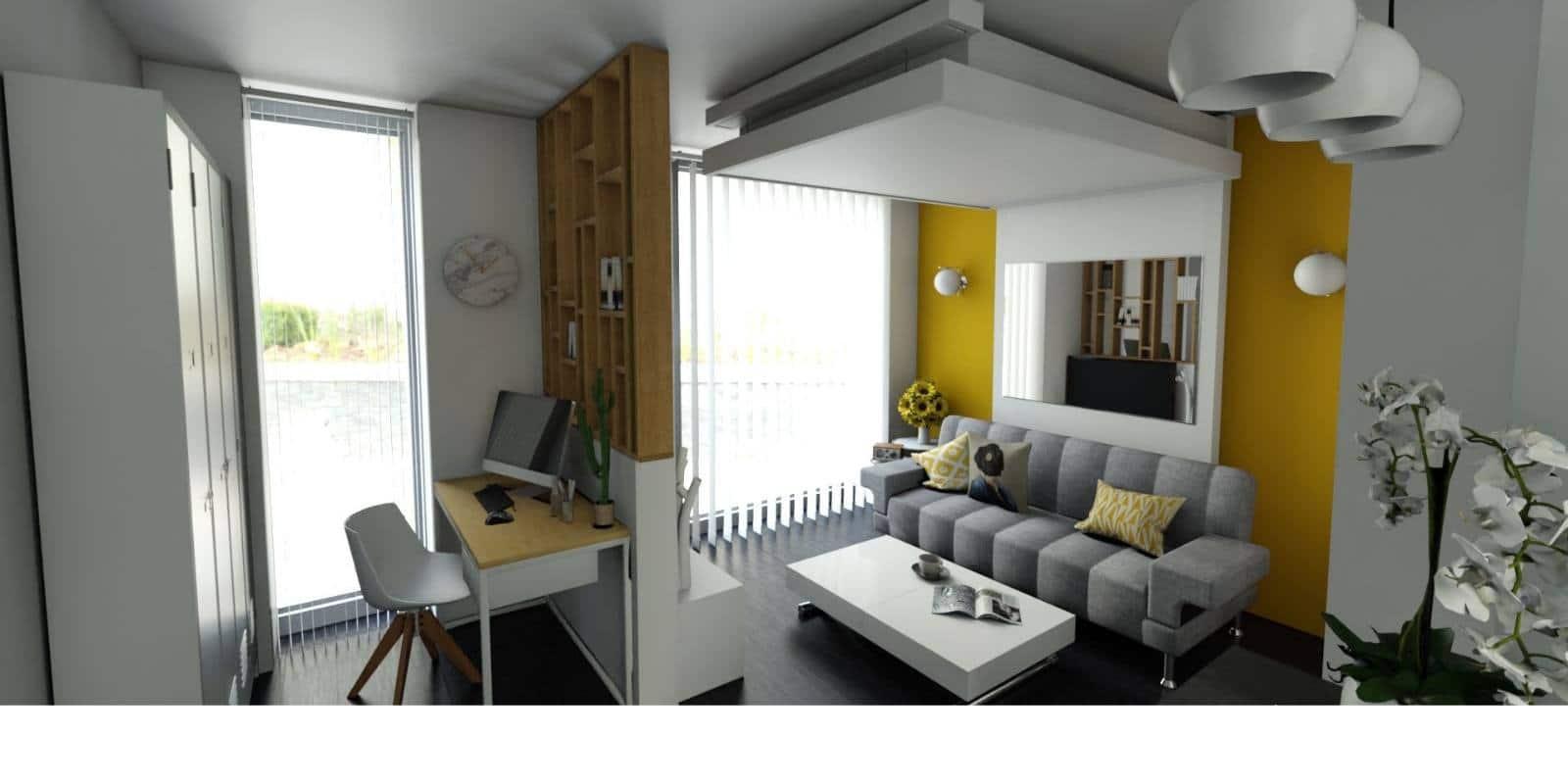 Relooking d'appartement pour gain de place. lit au plafond lit qui monte