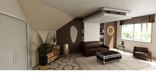 petits espaces avec lit au plafond lit escamotable lit relevable