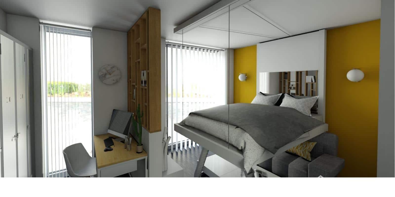 Relooking d'appartement : aménagement malin avec lit au plafond. lit relevable bedup gain de place création française