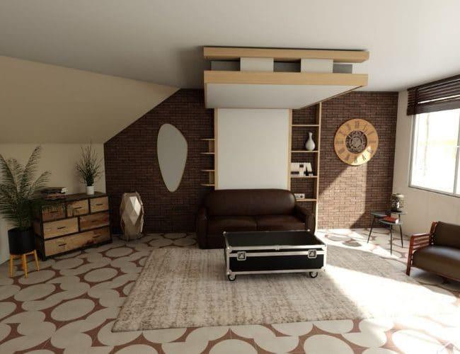 lit au plafond relooking appart aménagement malin gain de place lit relevable plafond lit escamotable bedup®