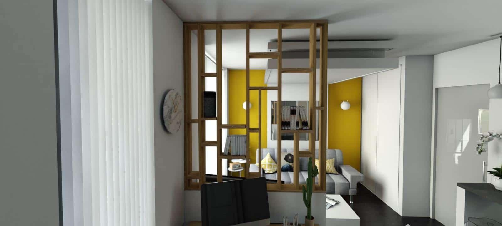 Relooking d'appartement pour gain de place, studio 22m2. lit qui se range au plafond