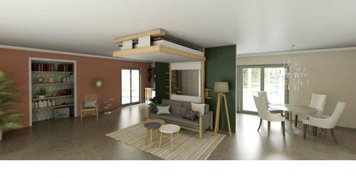 aménagement d'intérieur lit au plafond lit relevable