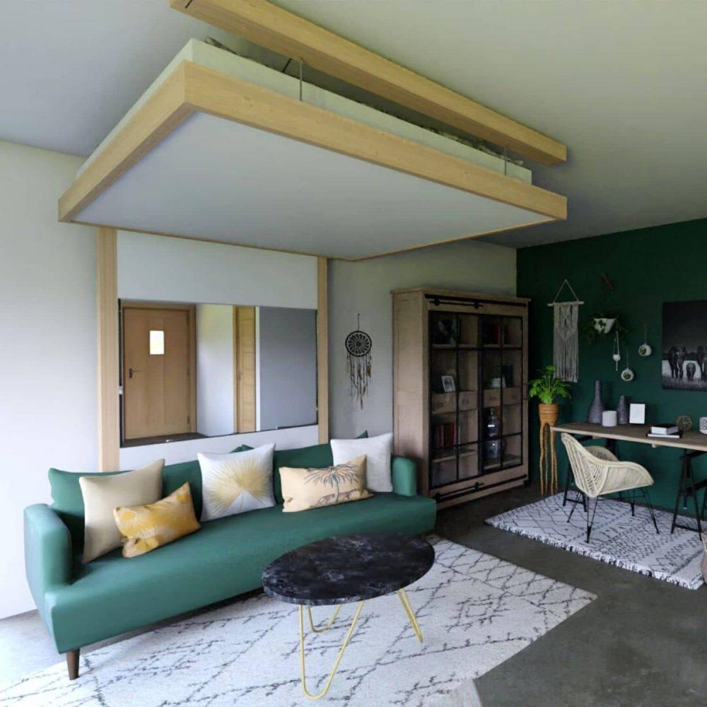 déco lit escamotable lit au plafond service déco 3d