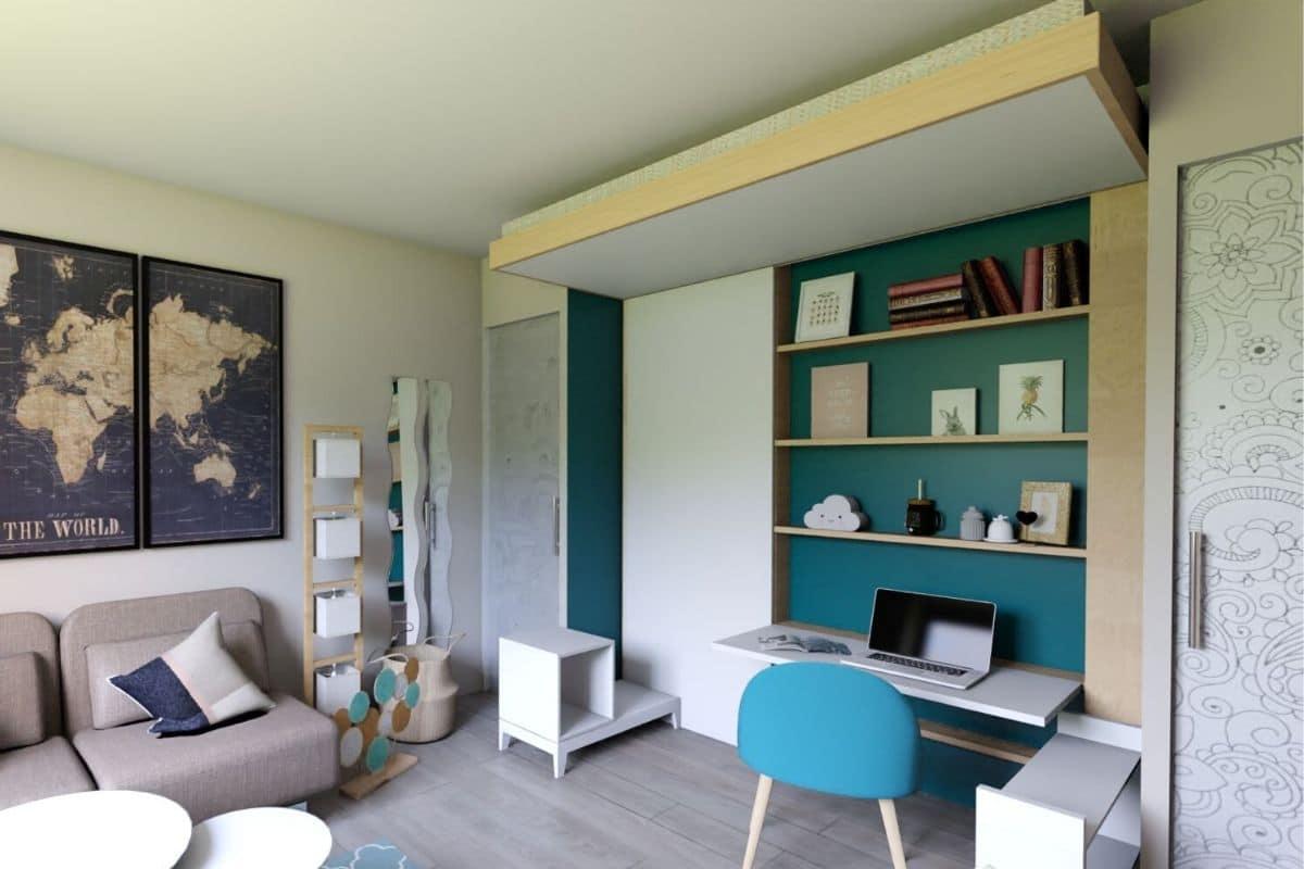 lit escamotable plafond chambre adolescent