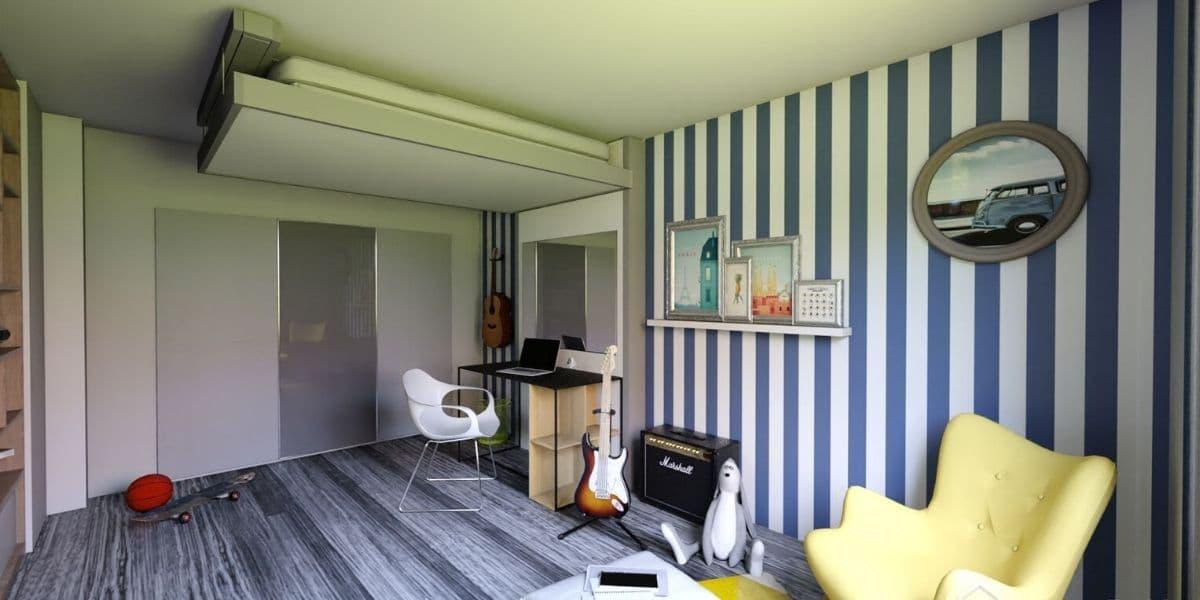 lit-escamotable-plafond aménagement gain-de-place petits-espaces meuble-pratique bedup-lit-escamotable chambre-enfant projet-déco aménagement-chambre