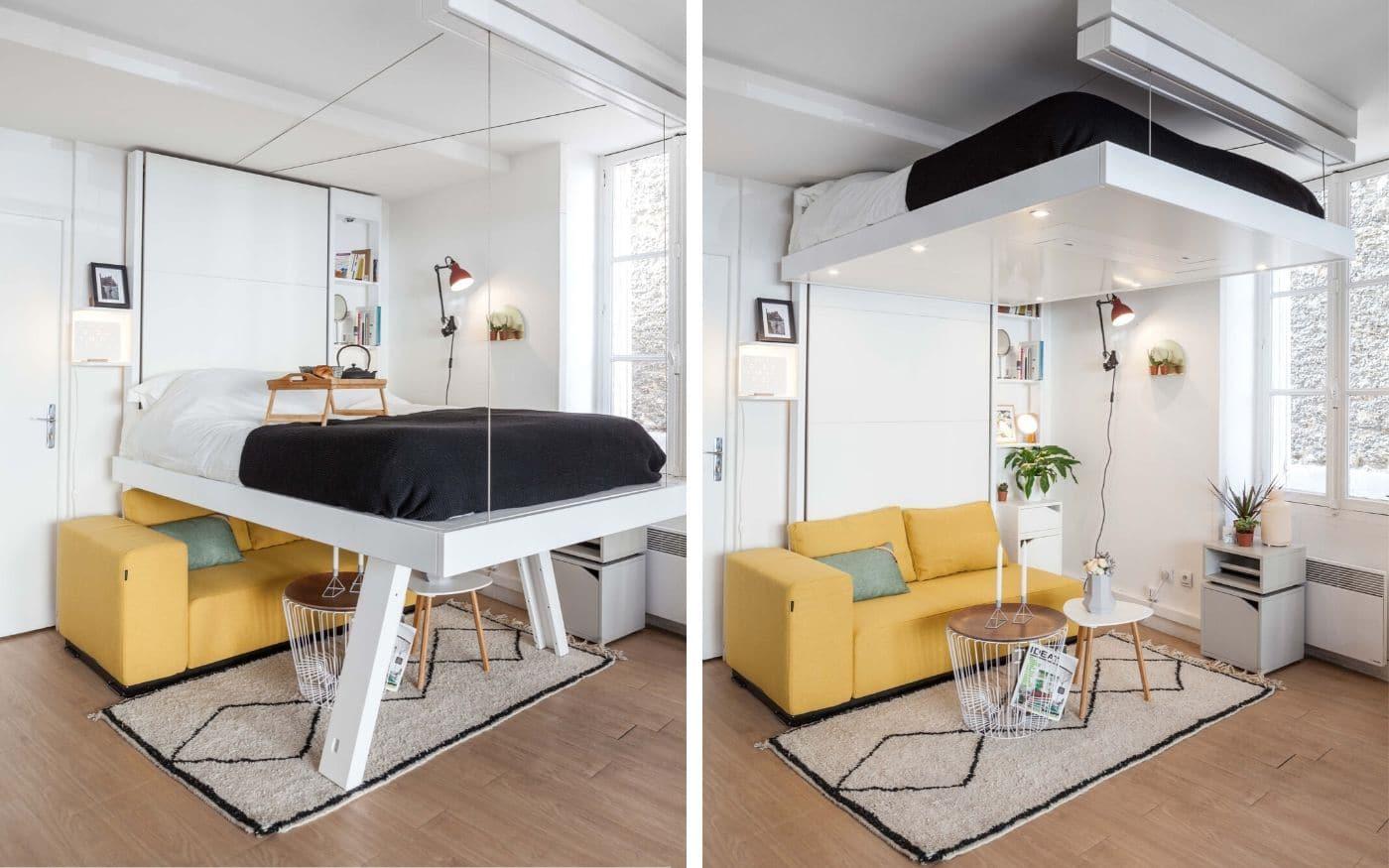 lit escamotable au plafond lit au plafond relooking appart aménagement malin gain de place lit relevable plafond lit escamotable bedup®