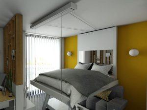 lit-escamotable-plafond aménagement gain-de-place petits-espaces meuble-pratique bedup-lit-escamotable chambre-enfant projet-déco aménagement-studio-meublé