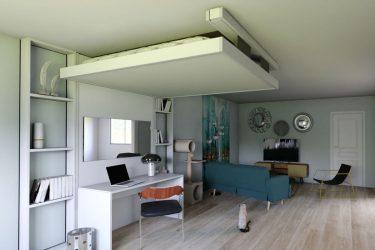 lit-escamotable-plafond aménagement gain-de-place petits-espaces meuble-pratique bedup-lit-escamotable projet-déco aménagement-bureau