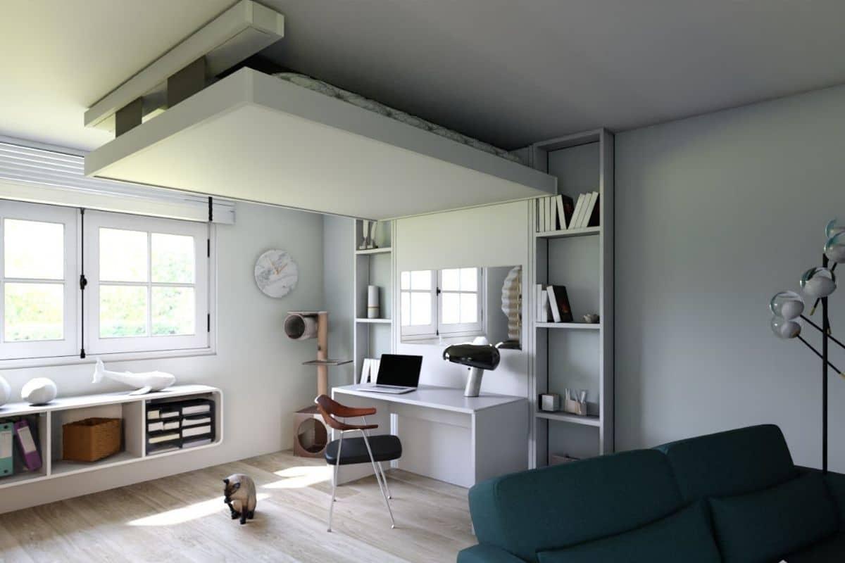 lit-escamotable-plafond aménagement gain-de-place petits-espaces meuble-pratique bedup-lit-escamotable bureau