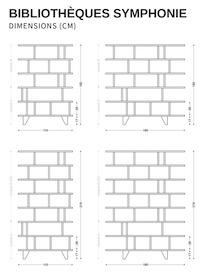 Dimensions de la bibliothèque étroite Symphonie by bedUp